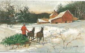Dollhouse Miniature - 296 - Painting - Snow Scene with Christmas Tree