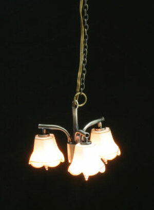 Dollhouse Miniature - MH45157 - Modern 3 Tulip Down Chandelier - Pewter - 12v