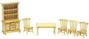 "T0231 - 1/2"" Scale Oak Dining Room Set - 6pc."
