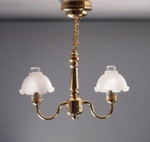 Dollhouse Miniature - C17(S) - Battery LED  -  Metropolitan 2-Arm Ceiling Lamp with Translucent Shades