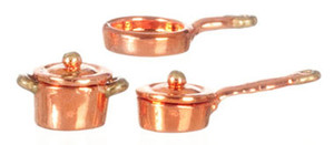 "Dollhouse Miniature - G8168 - 1/2"" Scale - Copper Casserole/Pot Set - Set/5"