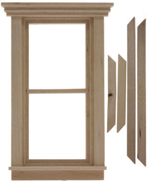 Dollhouse Miniature - CLA75051 - Traditional 2-Pane Non-Working Window
