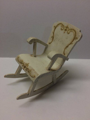 Dollhouse Miniature - 519201 - Rocking Chair - White - Shabby Chic
