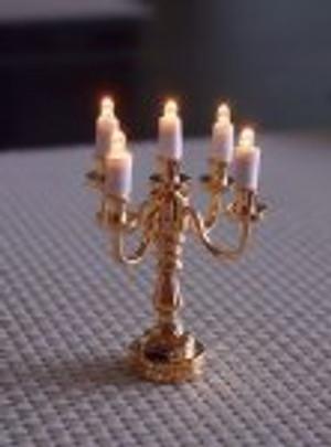 Dollhouse Miniature -T23 - Battery LED - 5-Arm Brass Miniature Candelabra