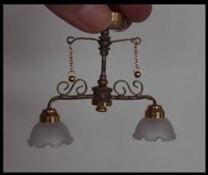 Dollhouse Miniature - C37SH - Battery LED - Delancey Street Cafe Ceiling Light