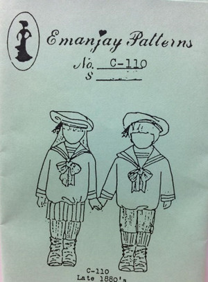 Dollhouse Miniature Sewing Pattern -C110 - Late 1880's Sailor Outfit for Girl and Boy - Emanjay Sewing Pattern