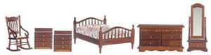 Dollhouse Miniature - T0017 - MASTER BEDROOM SET - SET/6 - FLORAL BED COVER - WALNUT