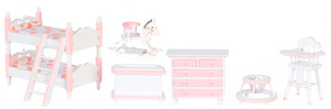 Dollhouse Miniature - T0141 - Girls Bedroom Set/7 - White w/Pink Trim