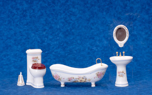 Dollhouse Miniature - Porcelain Bathroom Set/5 - White with Flowers - T5468