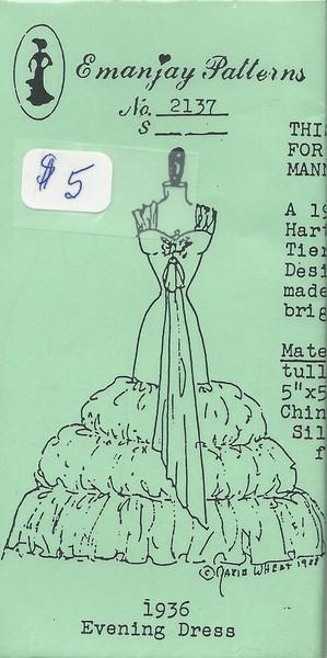 2137 - 1936 Evening Dress- Emanjay Sewing Pattern