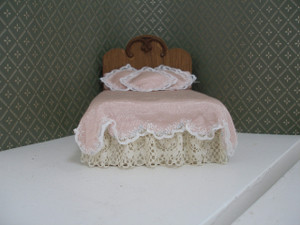 198212-2 - Double Bed - Wood Headboard -Pale Pink Cover - OOAK