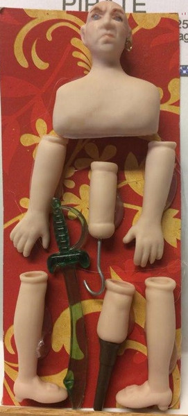 Dollhouse Miniature - Porcelain Doll Kit - Pirate 1 - Sword - 1:12 Scale