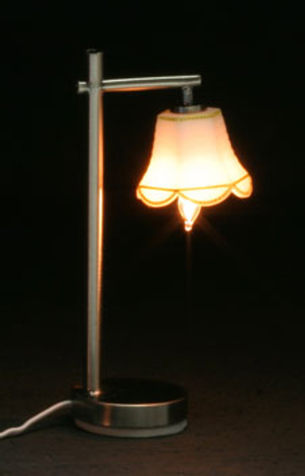 Dollhouse Miniature - MH45159 - Modern Table Lamp - Down Tulip Shade-Pewter - 12 v
