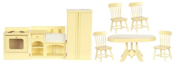 Dollhouse Miniature - T0142 - Kitchen Cabinet & Appliance Set - Set/8 - Cream