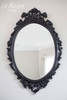 IN STOCK NOW: Oval carved Mirror - Black