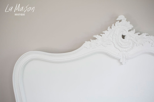 French inspired headboard in pure white.