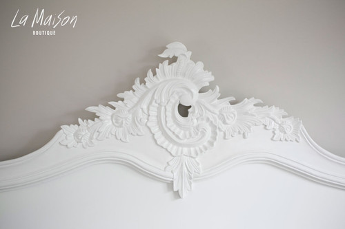 Headboard detail. Hand carved from mahogany wood.