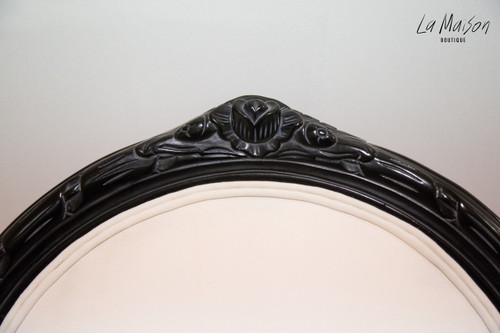 In Stock Now: Oval Floral Armchair - Black and white