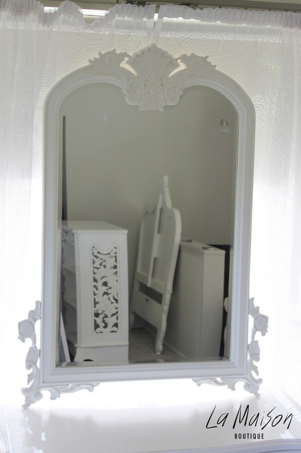 IN STOCK NOW: Shell carved mirror - antique white