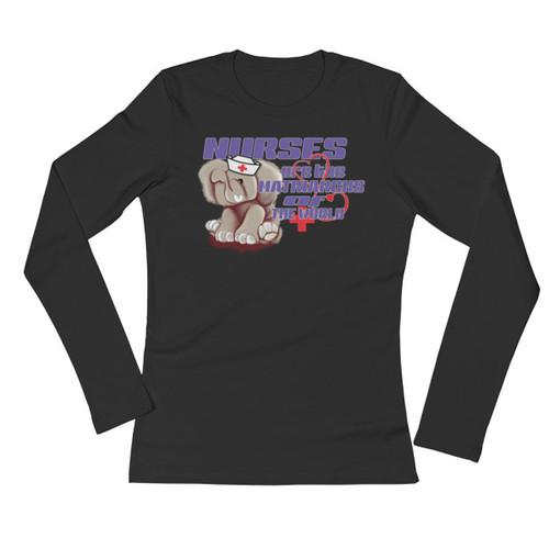 Ele' Nurse (purple-lettering) Ladies' Long Sleeve T-Shirt - Black