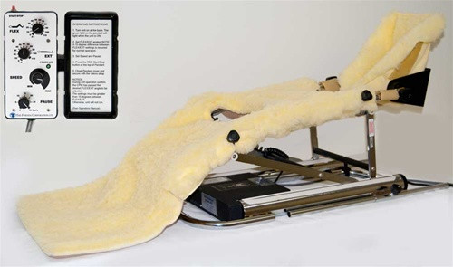Rental Knee Continuous Passive Motion Machine with CPM hand control and soft pad kit.