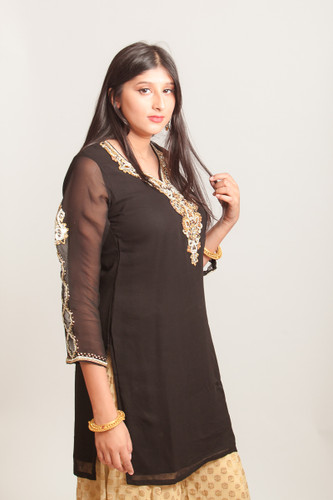 Black Kurti (tunic) with embroidered sleeves