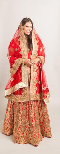 Red bridal lehenga set