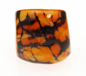 Eco-Chic Tagua Nut Marble Ring - Orange