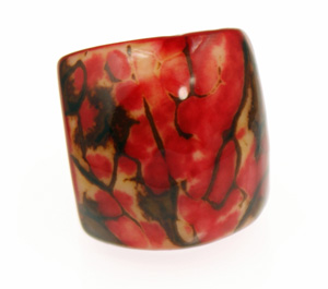 Eco-Chic Tagua Nut Marble Ring - Red