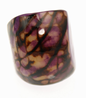 Eco-Chic Tagua Nut Marble Ring - Purple