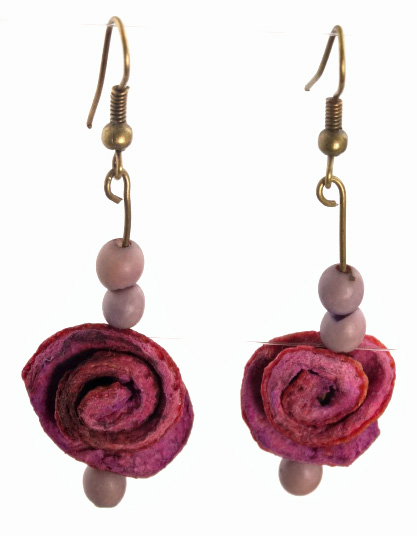 Eco-Friendly Orange Peel and Chirilla Seed Earrings - Lavender
