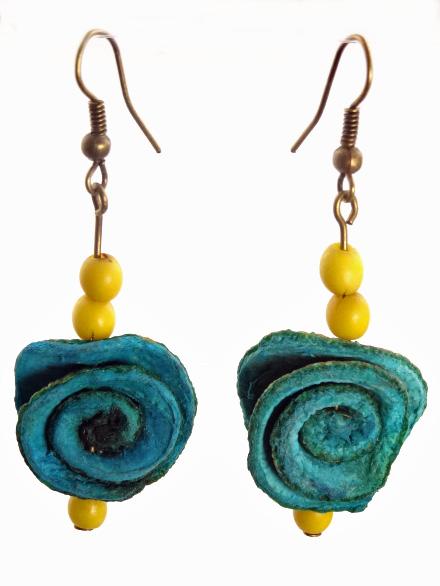 Orange Peel Rose Earrings - Blue