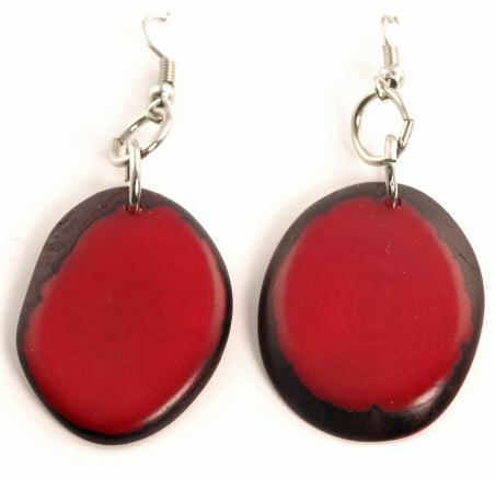 Boho Tagua Nut Earrings - Red