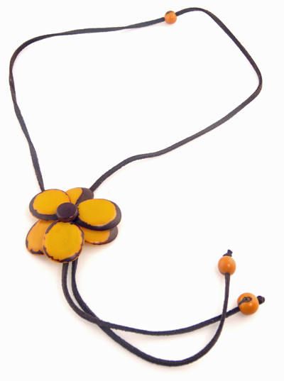 Tagua Flower Bolo Necklace - Yellow