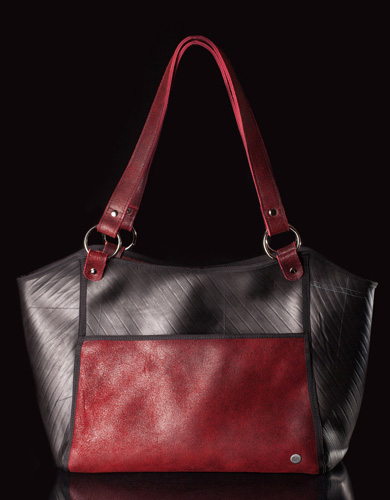 Recycled Tire Tube Purse - Urban Fossil Collection  - Red