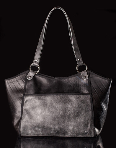 Urban Fossil Collection - Recycled Tire Tube Purse - Black