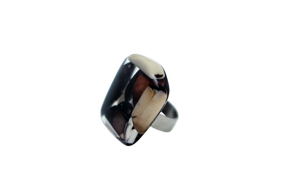 Mosaic Tagua and Resin Ring - Elegant