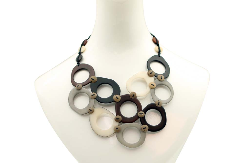 Elegant Multi-Tagua Donuts Necklace with Cool Summer and Warm Colors