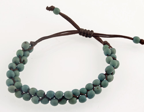 Chirilla Seed Bracelet on Decorative Twine - Blue