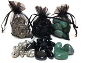 Pyrite, Green Jade, Black Obsidian