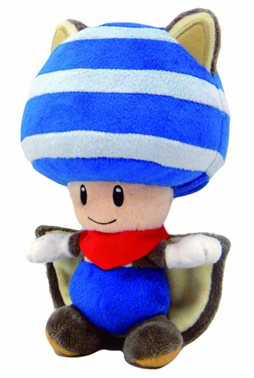 Super Mario Bros Squirrel Toad 8in Blue Plush -- Nintendo -- DEC131906