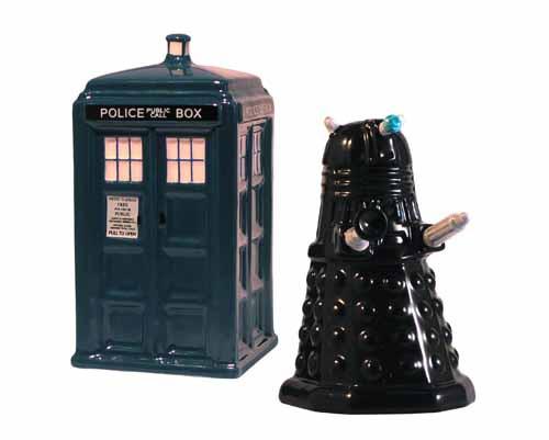 Doctor Who Tardis & Dalek Salt & Pepper Set -- DEC132190