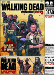 Walking Dead TV Ser 3 Bloody B&W Action Figure 3-Pack Case -- JAN130626