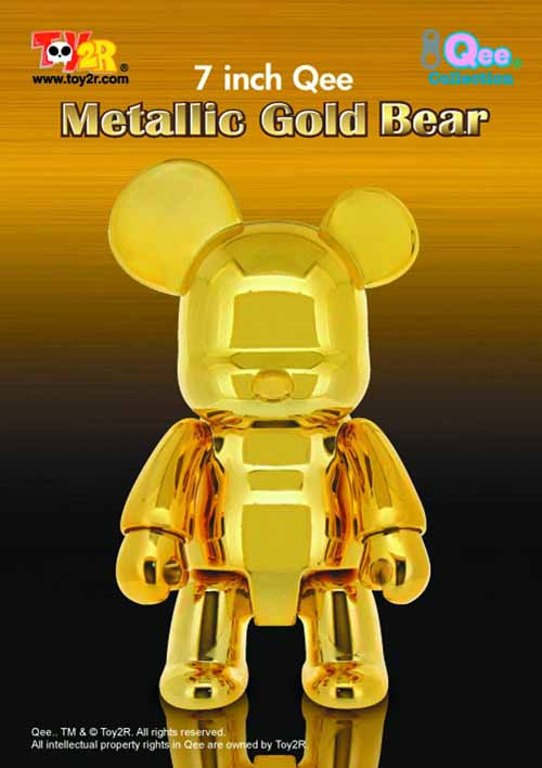 Metallic Gold 7In Bear Qee Vinyl Figure -- APR121724