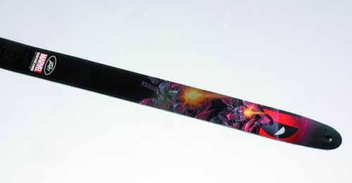 Deadpool Gunfire Leather Guitar Strap -- AUG122064