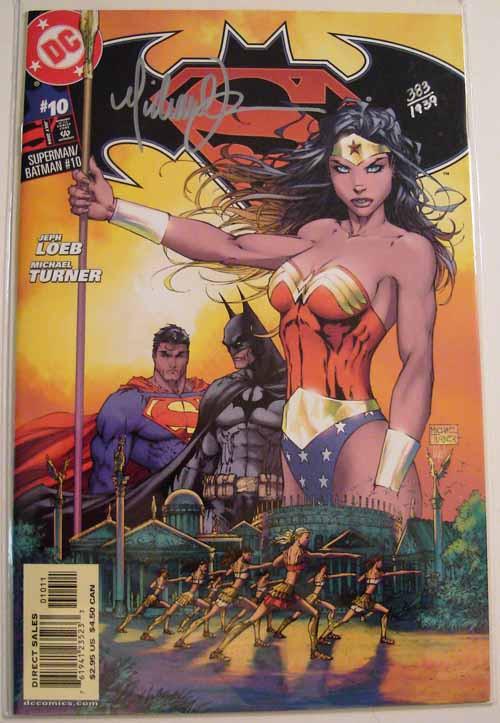 Superman Batman 10 -- Michael Turner signed Dynamic Forces 383 of 1939 -- COMIC00000151