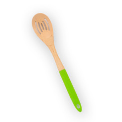 Brownlow Wood and Silicone Slotted Spoon- Lime Green