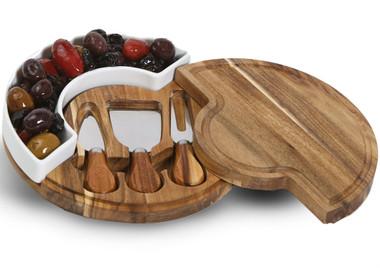 Oak and Olive Costa Acacia/Ceramic Cheese Board