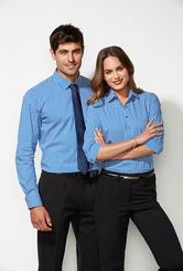 Mens & Ladies Biz Collection Zurich Cotton Rich Shirt Long Sleeve Matching Ladies S416LT & S416LS