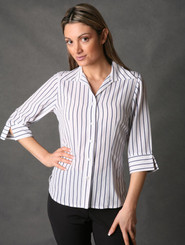 LSJ Freedom Stripe 3/4 Sleeve Shirt -White/Navy